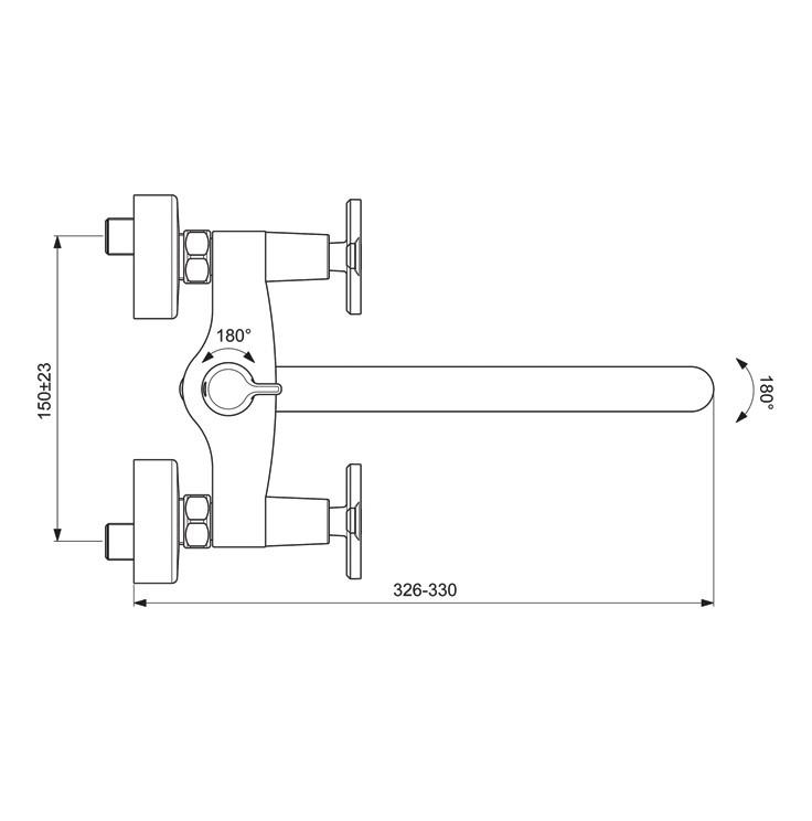Схема смесителя для ванны/душа Vidima Art 329