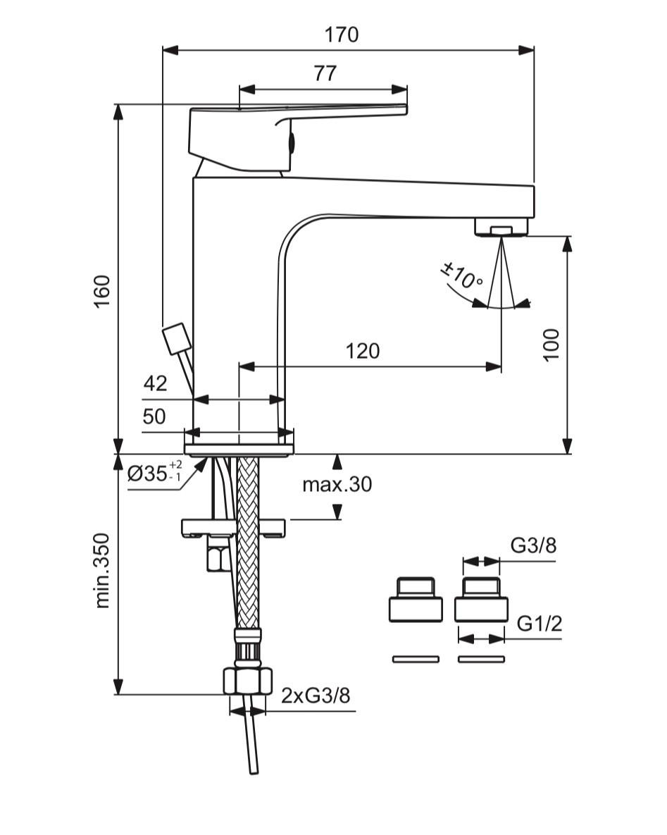 Схема смесителя для умывальника Vidima Hype 396
