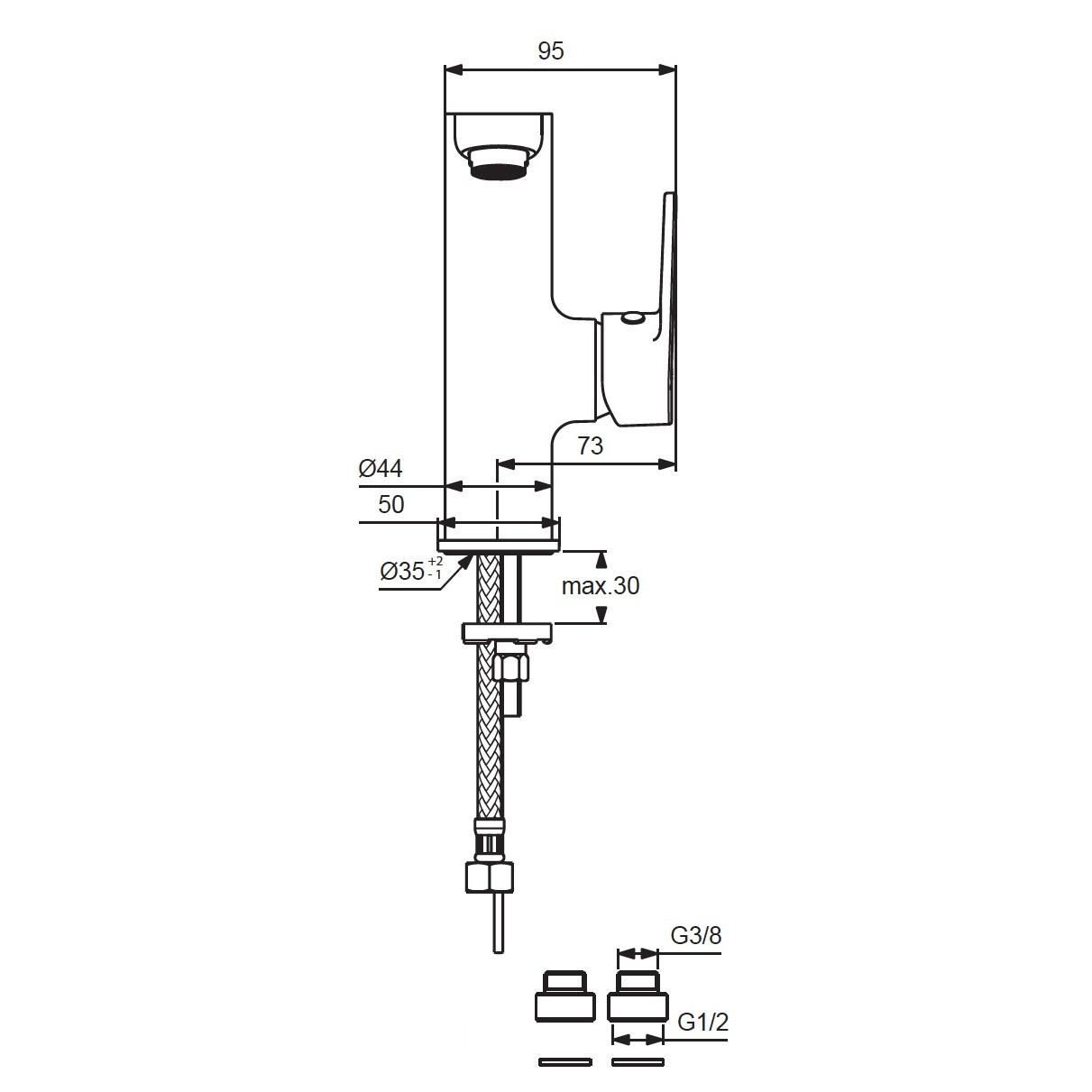 Схема смесителя для умывальника Vidima Hype 408