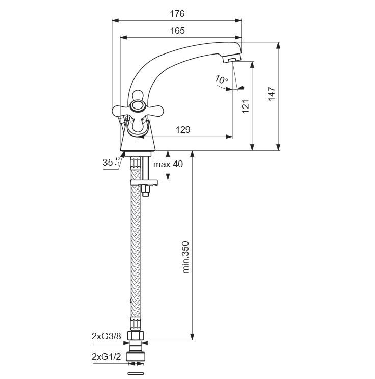 Схема смесителя для умывальника Vidima (Видима) Ретро арт.119