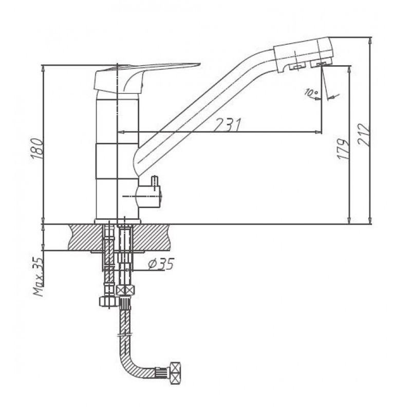 """Схема смесителя для кухни """"Haiba"""" 4304"""