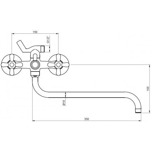 """Схема смесителя для ванны """"Kaiser-Carlson"""" 11055"""