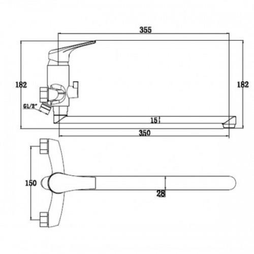 """Схема смесителя для ванны """"Kaiser-Eco"""" 00055"""