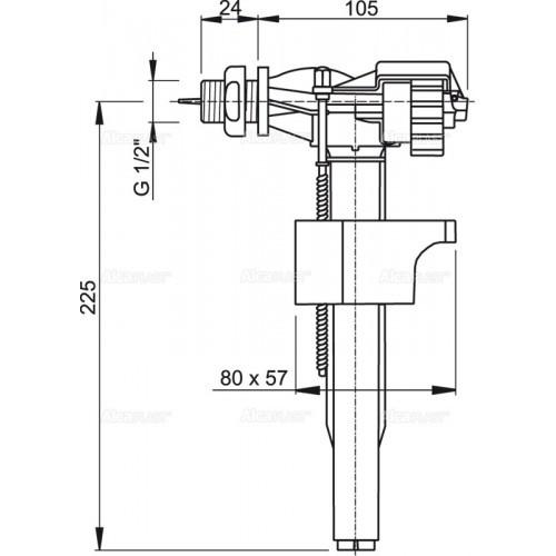 """Заливная арматура (клапан) Alcaplast a16 1/2"""" (схема)"""