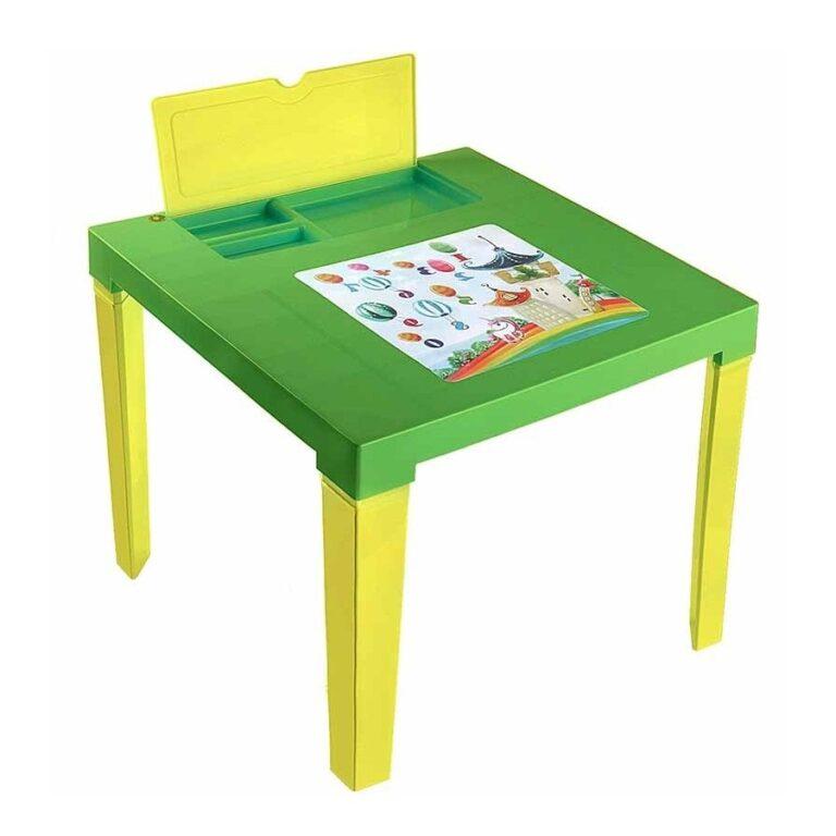 """Детский стол """"Аладин"""" с подставкой и отсеком для карандашей (зелёный) арт.164"""