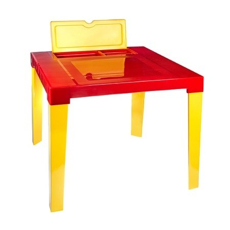 """Детский стол """"Аладин"""" с подставкой и отсеком для карандашей (красный) арт.164"""
