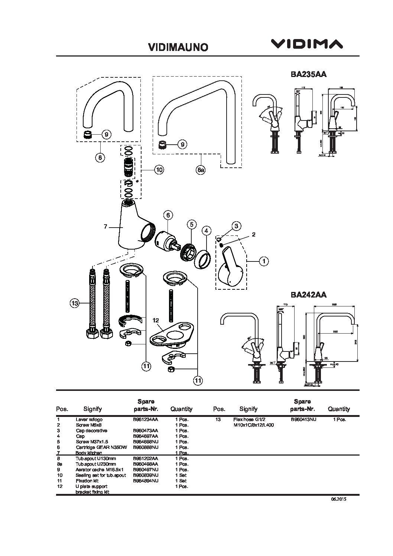 Смеситель для кухни Vidima - Уно (высокий поворотный излив) арт.242