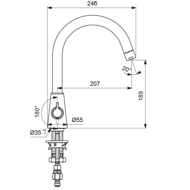 Смеситель для кухни Vidima-Уно с подключением фильтра для воды 356 (схема)