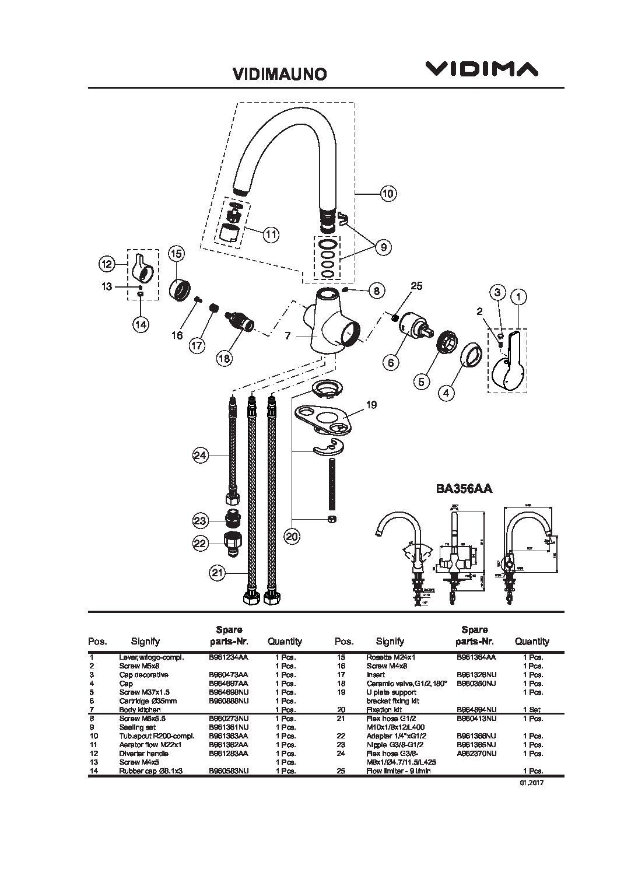 Смеситель для кухни Vidima - Уно (для подключения фильтра воды) арт.356