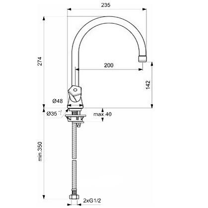 Схема смесителя для кухни Vidima Life (Видима-Лайф) 359