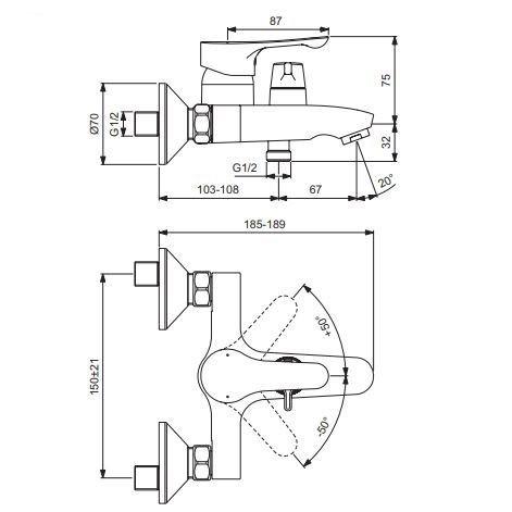 Схема смесителя для ванны Vidima Wave арт.416