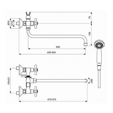 Схема смесителя для ванны Vidima Retro (Видима-Ретро) излив400 арт.349