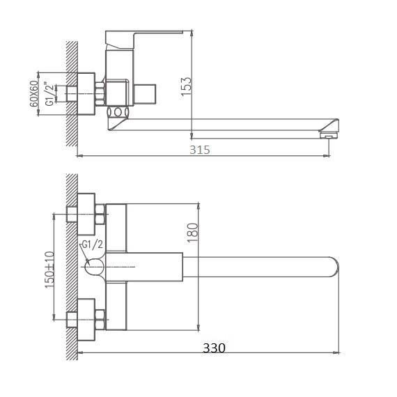 Схема смесителя для ванны Haiba арт.20191