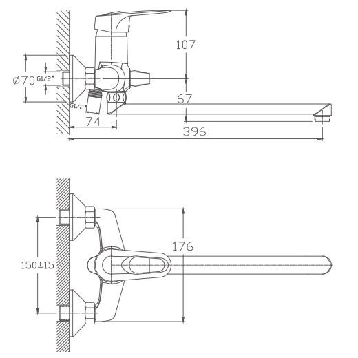 Схема смесителя для ванны Haiba арт.2204
