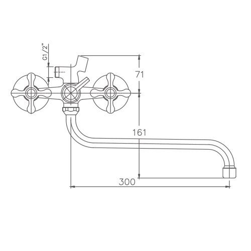 Схема смесителя для ванны Haiba арт.2208-2