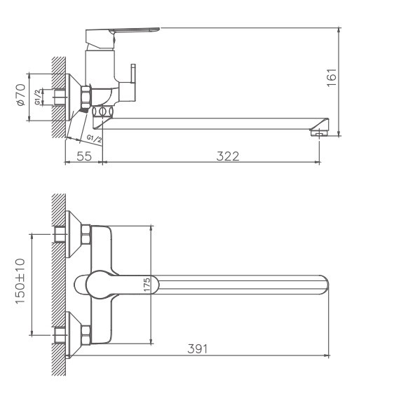 Схема смесителя для ванны Haiba арт.22557-8.