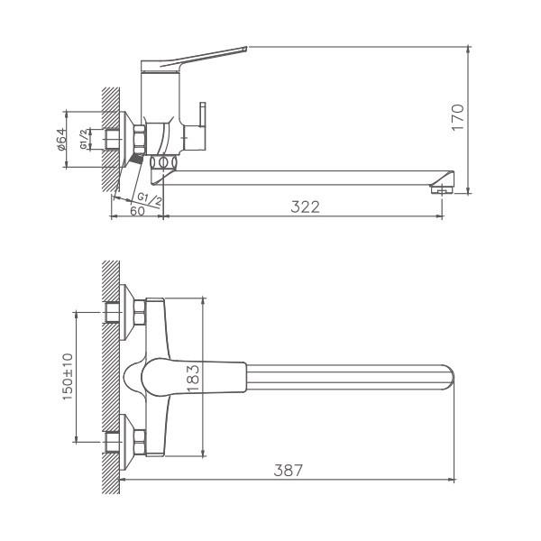 Схема смесителя для ванны Haiba арт.22572
