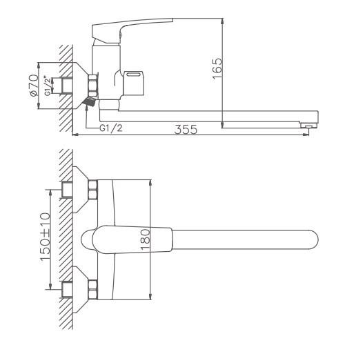 Схема смесителя для ванны Haiba арт.22587