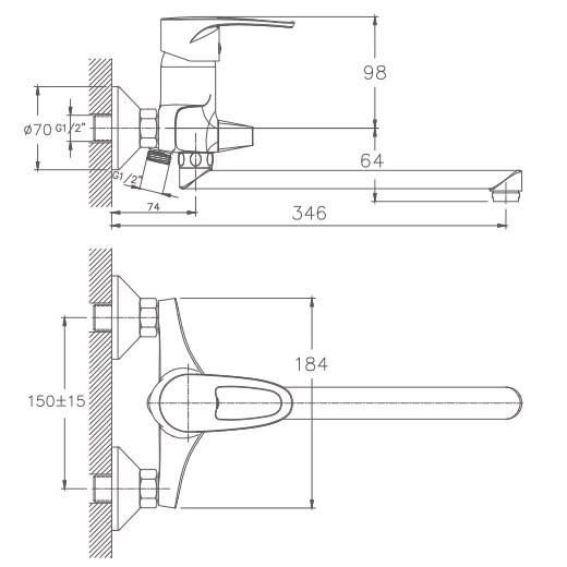 Схема смесителя для ванны Haiba арт.2265