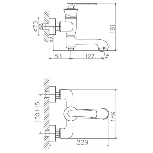 Схема смесителя для ванны Haiba арт.60181
