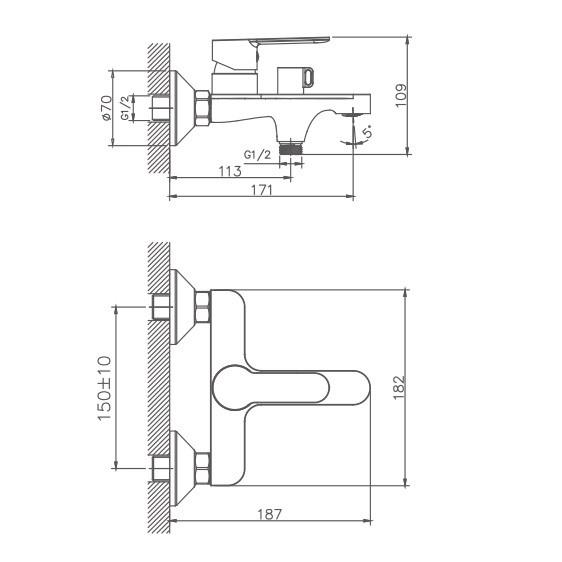Схема смесителя для ванны Haiba арт.60557-8.