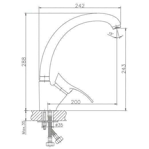 Схема смесителя для кухни Haiba арт.4101-1 (матовый)