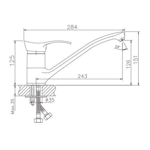 Схема смесителя для кухни Haiba арт.4201