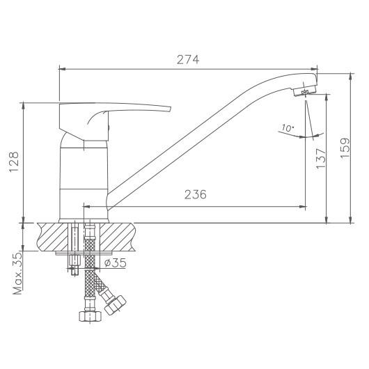 Схема смесителя для кухни Haiba арт.4265