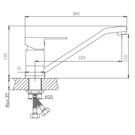 Схема смесителя для кухни Haiba арт.42802
