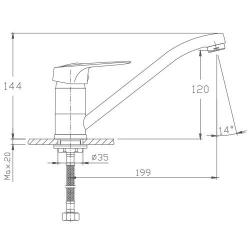 Схема смесителя для кухни Haiba арт.4237