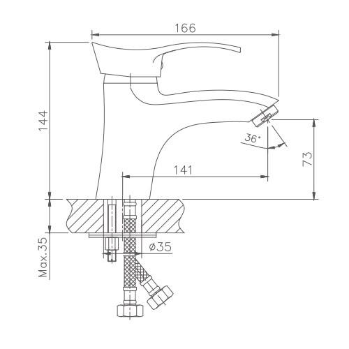 Схема смесителя для умывальника Haiba арт.1001