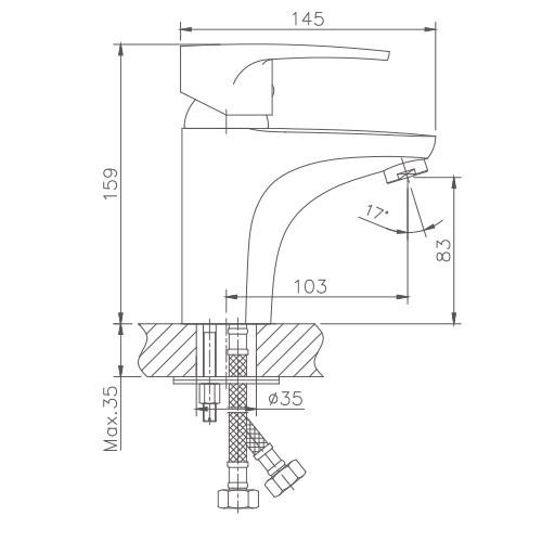 Схема смесителя для умывальника Haiba арт.1065